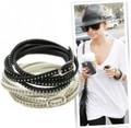 RK-039 Fashion Jewelry For Women Men Rivet Wrapped Leather Bracelet