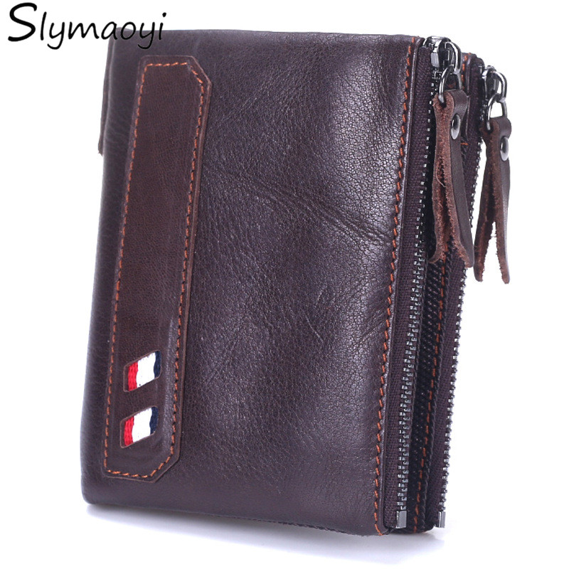 Slymaoyi Brand Men Wallets Genuine Leather Fashion Wallet With Coin Bags Card Holder Vintage Design Purse carteira masculina 2017 luxury brand men genuine leather wallet top leather men wallets clutch plaid leather purse carteira masculina phone bag