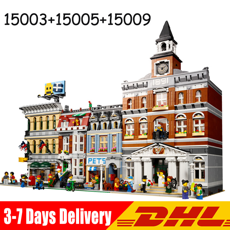 Lepin 15003 Town Hall +15005 Grand Emporium15009 +Pet Shop Model Bricks Blocks Educational Toys Compatible 10224 10211 10218