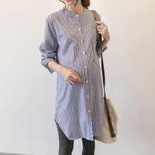 2018 Spring and Autumn Maternity Loose Dress New Korean Women's Shirts Long Sleeve Blouse Striped Dress For Pregnant Vestidos