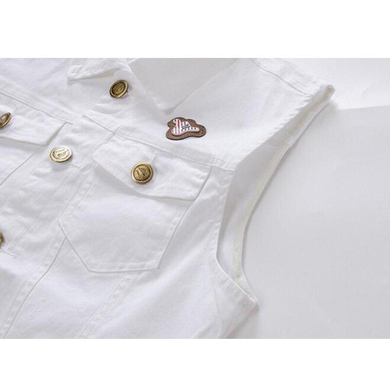4b5dc19b891 Men White Denim Vest Fashion Jeans Waistcoat Sleeveless Special Logo  Motorcycle Club Autumn Denim Jacket Vest F1364-in Vests   Waistcoats from  Men s ...