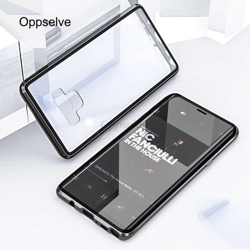 360 двухсторонняя, для стекла чехол на магните для samsung Galaxy S9 S8 S10 Plus Note 9 8 A30 A7 A9 металлический магнит закаленное Стекло Capinhas