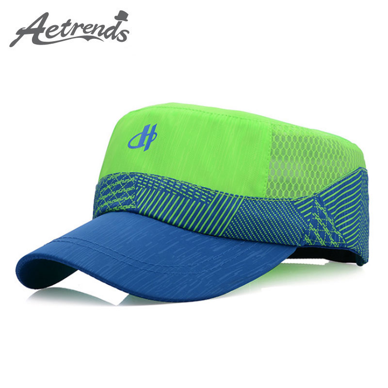 [AETRENDS] 2017 Breathable Mesh Baseball Caps Men Flat Summer Sun Hat Visor chapeu Casual Bone Cap Z-5151 35colors silver gold soild india scarf cap warmer ear caps yoga hedging headwrap men and women beanies multicolor fold hat 1pc