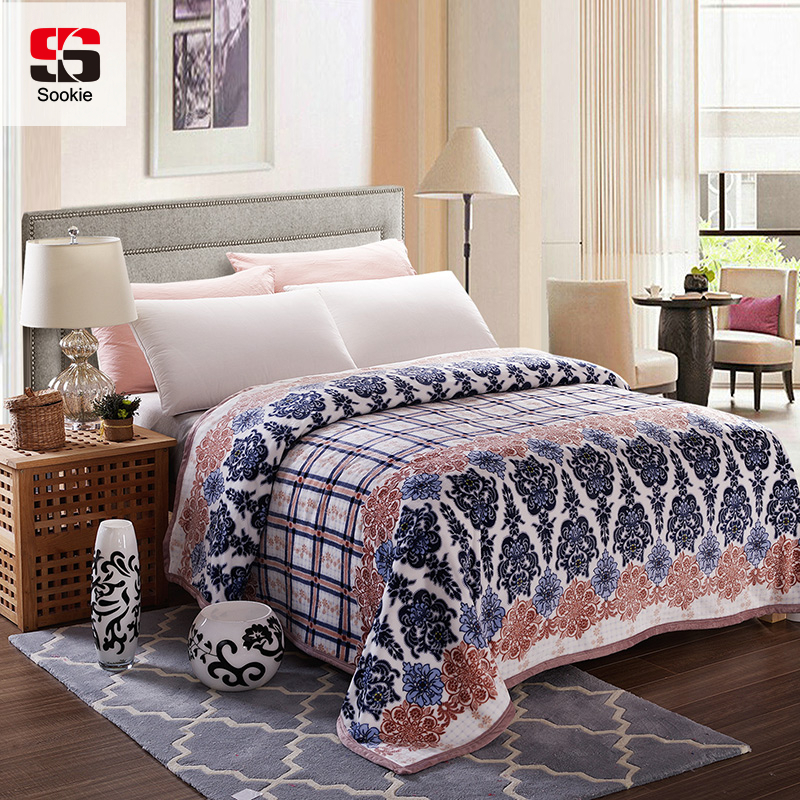 Sookie Fleece Blanket Floral Printed Bedding High Density Super Warm Soft Blankets Throw On Sofa Bed Travel Plaids Bedspread
