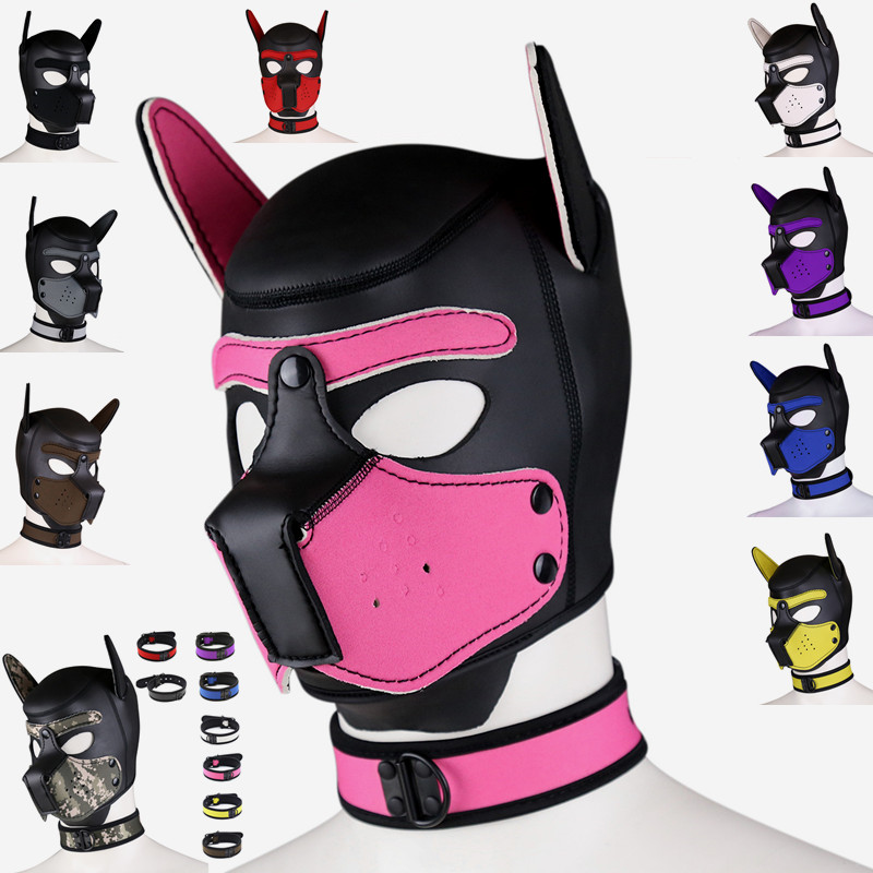 <font><b>Sex</b></font> Women Girls Cosplay <font><b>Masks</b></font> Puppy Role Play SM Sexy Lady Rubber Helmet Soft Interest Latex <font><b>Dog</b></font> <font><b>Mask</b></font> Necklace Collar Suit image