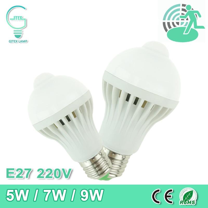 где купить LED PIR Motion Sensor Lamp 5W 7W 9W LED E27 Bulb 220V 240V Auto Smart PIR Infrared Body Lamp Lampada With Motion Sensor Lights по лучшей цене