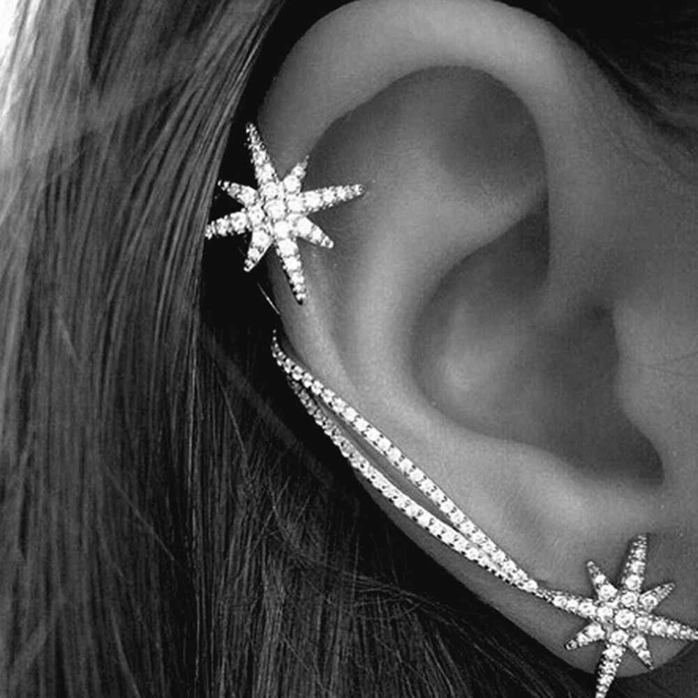 Snowflake Earring Rhinestone Clip Ear Cuff Wrap Stud Earrings Fashion Asymmetric Stud Earring Cool Punk Women Ear Crawler
