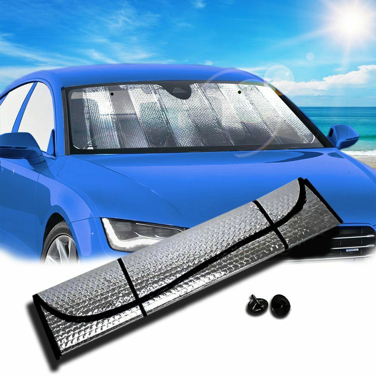 Image 2 - Foldable For Car Windshield Sunshade Reflective Sun Shade Visor Cover 160*60CM-in Windshield Sunshades from Automobiles & Motorcycles
