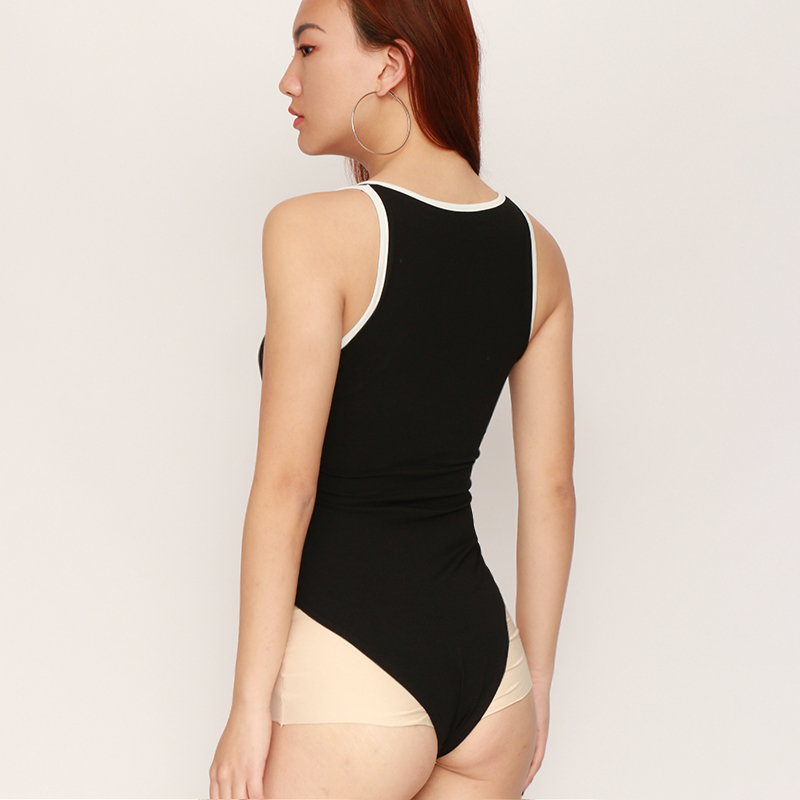 Sweetown Embroidery Tank Bodysuit Black Skinny Women Striped Patchwork Summer Bodysuits 2018 New Scoop Neck Sleeveless Bodysuit