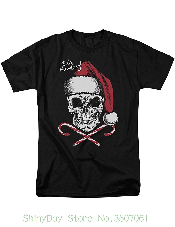 Хлопковые свободные короткий рукав мужские Рубашки для мальчиков череп Уход за кожей лица w/Санта шляпу леденцы Футболка-Бах Вздор типов