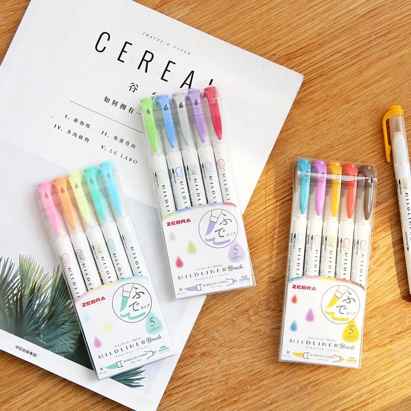 5pcs Zebra New WFT8 Mildliner Brush Double-head Highlighter Set Marker Pen Journal Stationery Supplies Kawaii