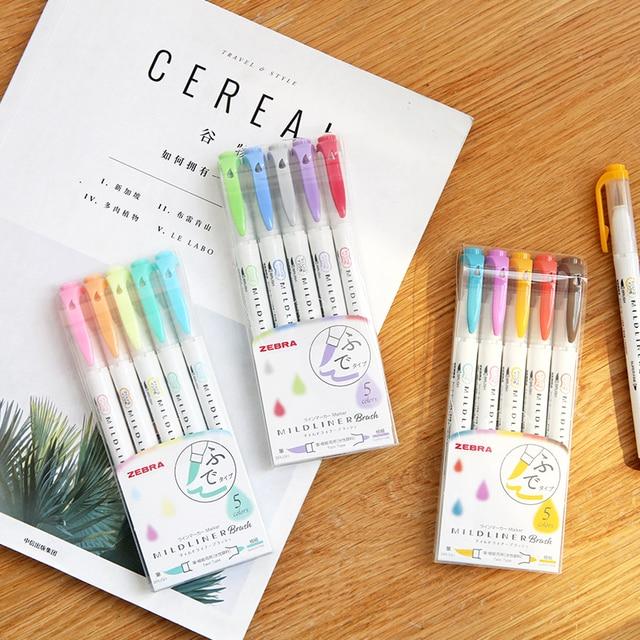 5pcs Zebra New WFT8 Mildliner Brush Double head Highlighter Set Marker pen Journal Stationery Supplies Kawaii