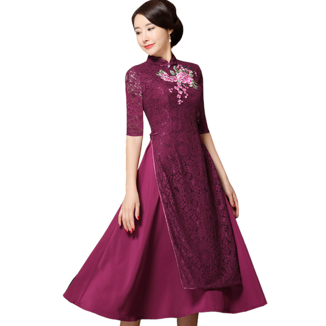 Purple Summer Women Lace Chinese A-Line Dress Embroidery Flower Long  Cheongsam Ethnic Vietnam Aodai Qipao Oversize S-XXXXL b8ce093e66c5