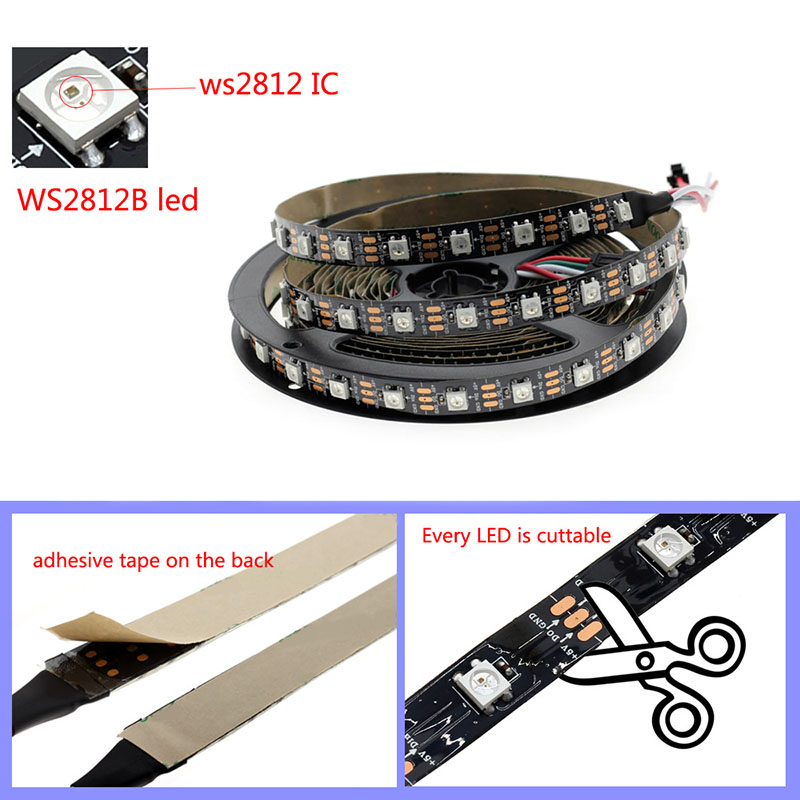 LED Lights Full Color Led Pixel Strip Lighting 2812B DC5V DIY PCB Waterproof @8 JDH99