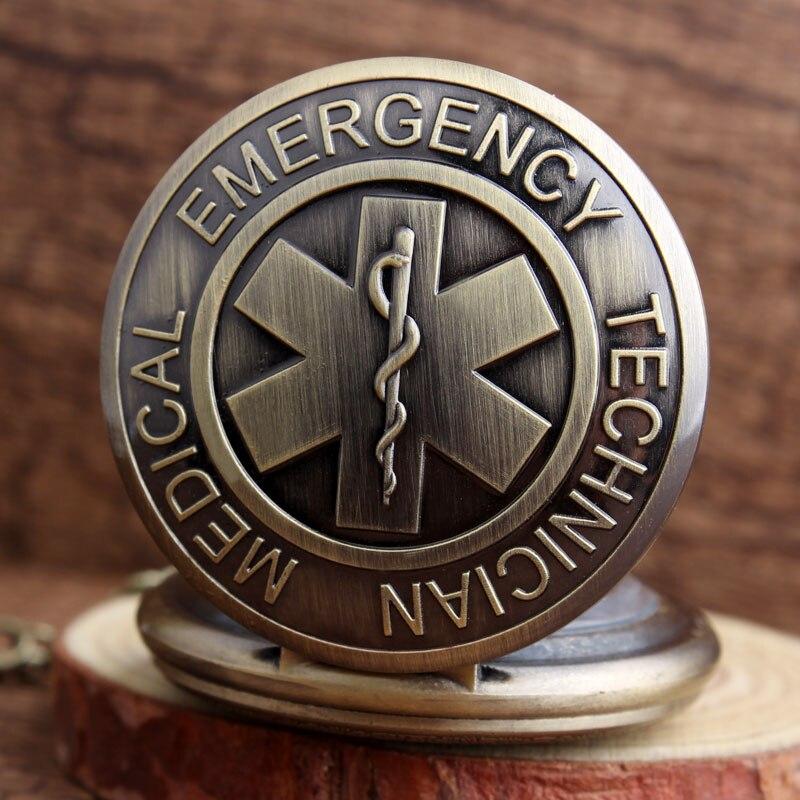 784b66cf2e7 Único Projeto do Sinal de Técnico De Emergência Médica Relógio de Bolso  Homens PARAMÉDICOS de Bronze