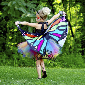 Bright Candy Rainbow Butterfly Tutu Dress Little Girls Fairy Cosplay Birthday Party Dresses with Wings Kids Halloween Costume