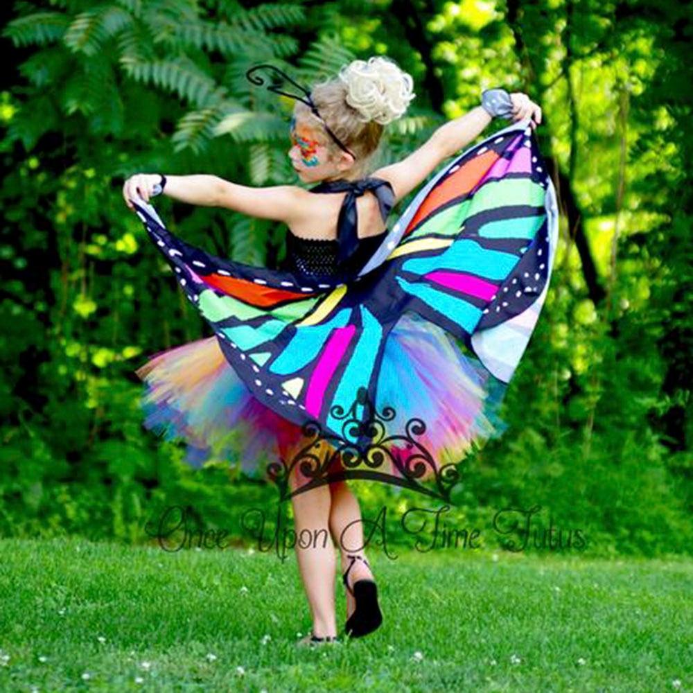 dae109438 Caramelo brillante mariposa Arco Iris Tutu vestido poco chicas hadas  Cosplay vestidos de fiesta de cumpleaños con alas niños traje de Halloween
