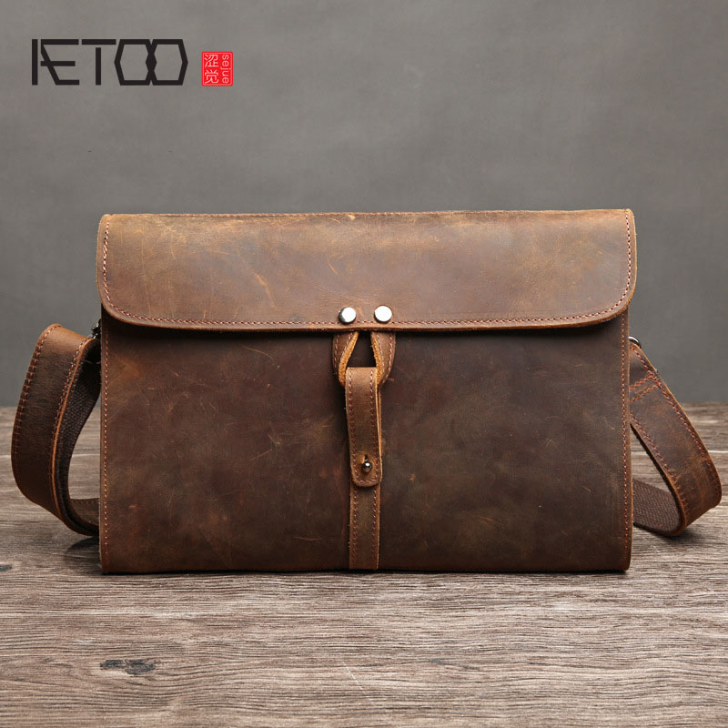 AETOO Crazy horse leather leather men bag retro first layer cowhide shoulder bag casual oblique cross package envelope bag packa men s leather oblique cross chest packs of the first layer of leather deer pattern men s shoulder bag korean fashion men s bag