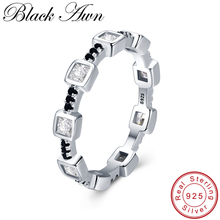 [BLACK AWN] Genuine 925 Sterling Silver Black Spinel Elegant Rings for Women Trendy Zircon Jewelry G008