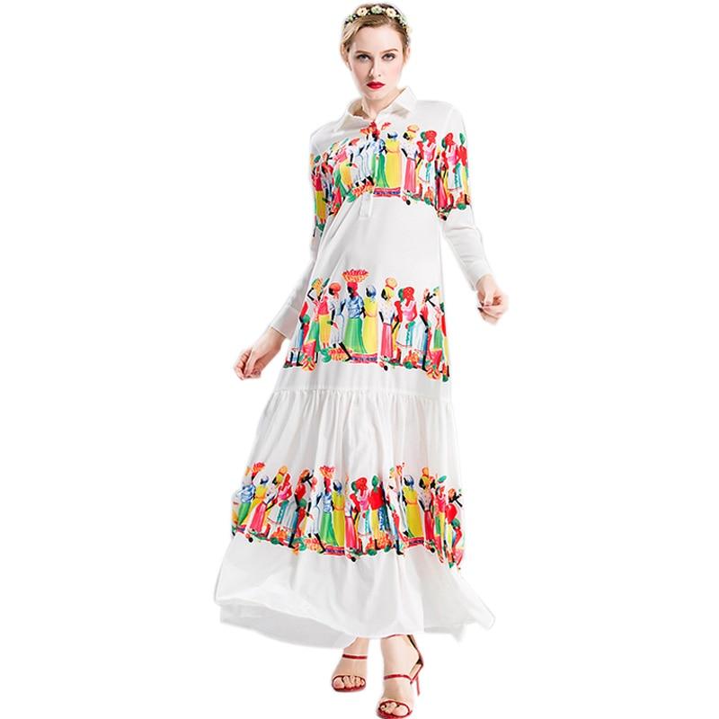 Best Selling Popuplar Women's Elegant Long Sleeve Maxi Long Runway Printed Bohemian Dresses Vintage Beach Dress HIGH QUALITY-in Dresses from Women's Clothing    1