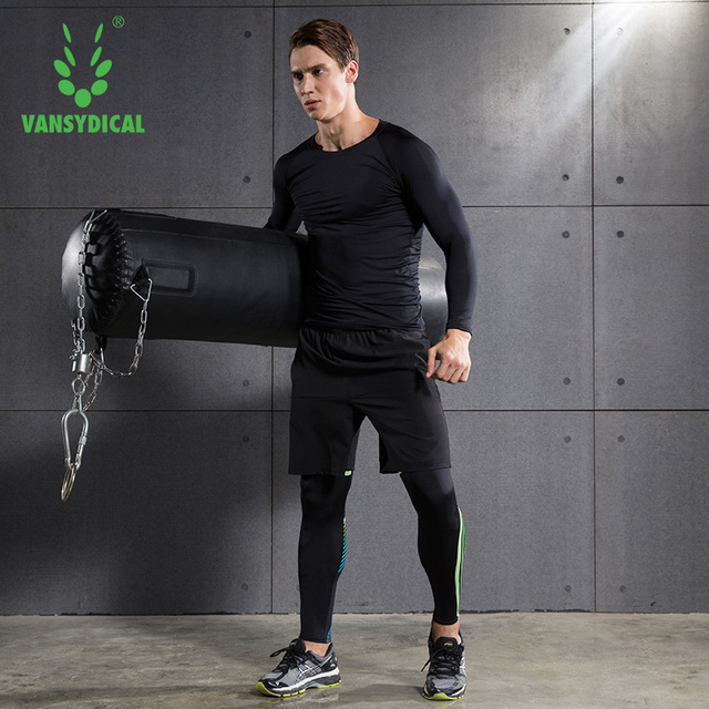 c3fa2f9a50449 Brand Winter men tights gym training survetement football tracksuits quick  dry compression running sets Plus velvet