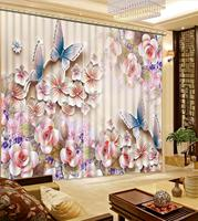 3D curtains Embossed flower butterfly curtains for girls room Living room bedroom blackout curtains