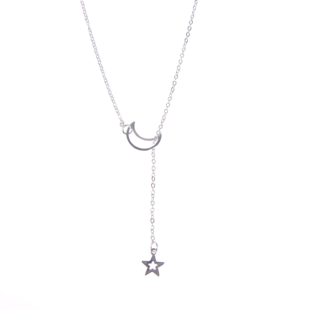 Women Simple Jewelry Long Pendant Gold Silver Necklace Moon Star Choker Necklace Chain christmas gift free shipping