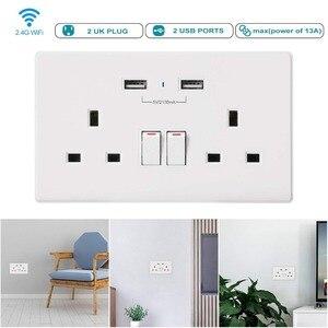 Image 5 - Приложение Smart life Wi Fi умная розетка Великобритания управление переключателем таймера 13A розетки и 2 Порты USB Голосовое управление работает с Amazon Alexa Google IFTTT