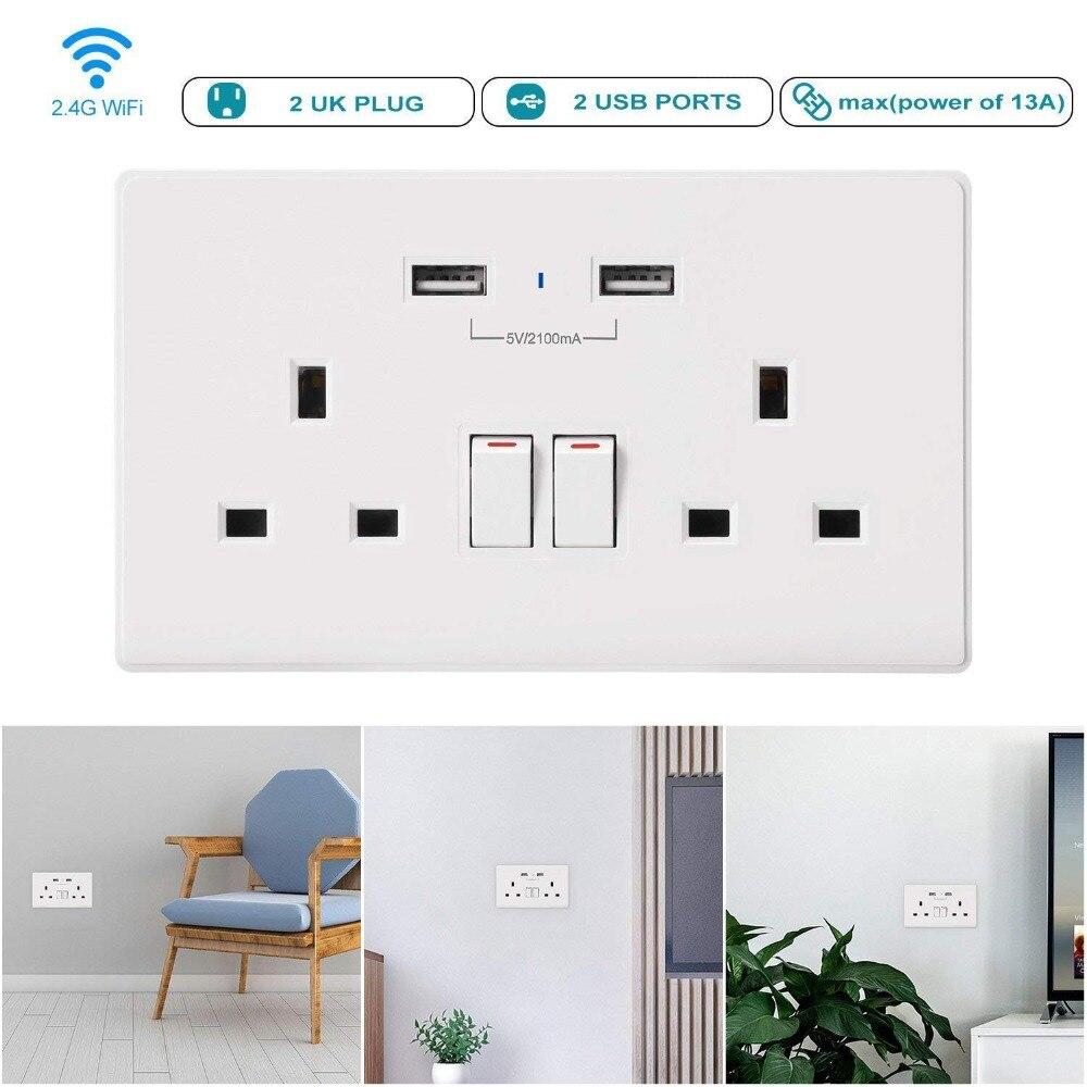 Vie intelligente Wifi prise intelligente UK minuterie interrupteur contrôle 13A prise murale et 2 Ports USB commande vocale fonctionne avec Alexa Google IFTTT - 5