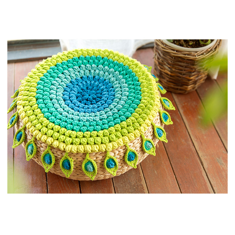 Crochet Sofa Peacock Feather Seat Cushion Perfect Quality Hand Table