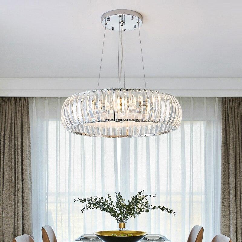 Modern Lustre Crystal Led Chandeliers Lighting Dining Room Chrome Metal Led Pendant Chandelier Lights Foyer Hanging Lamp Fixture
