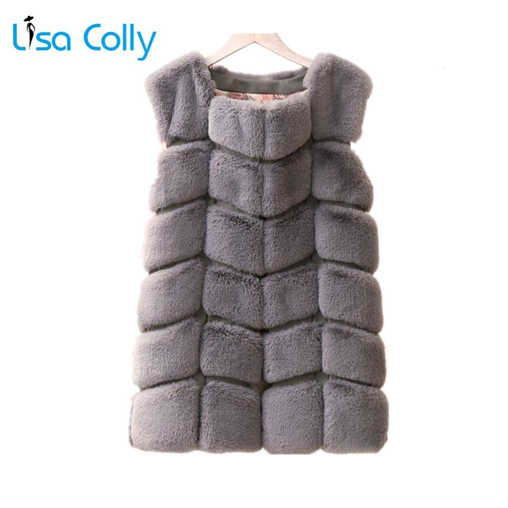 Lisa Colly femmes fausse fourrure gilet manteau veste femmes hiver sans manches Faux renard fourrure gilet épais fourrure gilet manteau chaud pardessus outwear