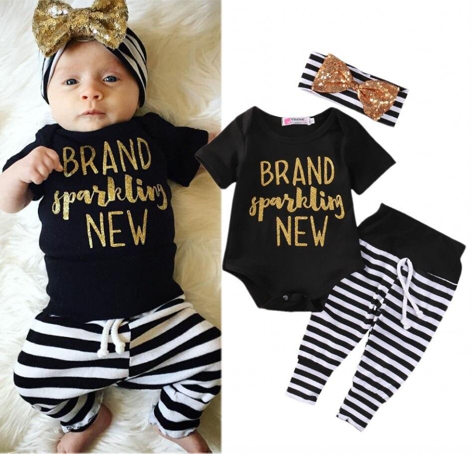 Fashion Newborn Toddler Baby Girls Tops Romper Stripe Pants 3Pcs Outfits Set Kids Stuff Clothes CA