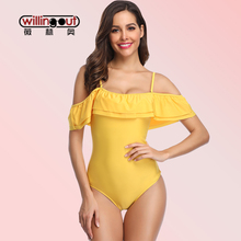 Off The Shoulder With Flounce Tube Top Bikini Wear Pure Color Swimming Wear Wire Free Comfortable Bathing Suit Extra Size Bikini все цены