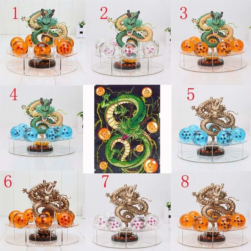 Dragon ball z фигурки 1 figura дель shenron + 7 sfere ди cristallo 4 см 1 scaffale dragonball blu rosa звезда giocattoli ...