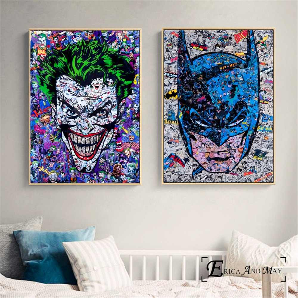 Joker Batman Abstract Movie Figure Posters and Prints Canvas Art Painting Wall Pictures For Living Room Home Decorative No Frame