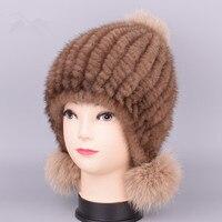 2018 New mink hat Ladies fashion Fox fur ball fur hat Mink knit hats Casual mink hat Female Headgear