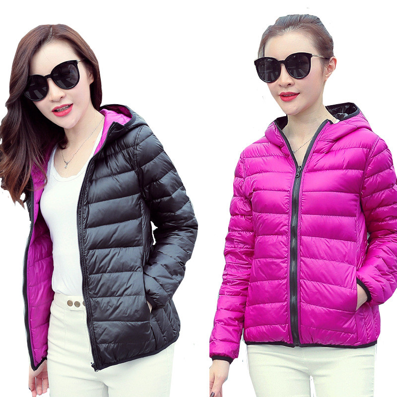 XMY3DWX fashion women Super light thin 90% White duck down Down jacket/Women's high-end Double sided Down coat/Large size S-XXXL