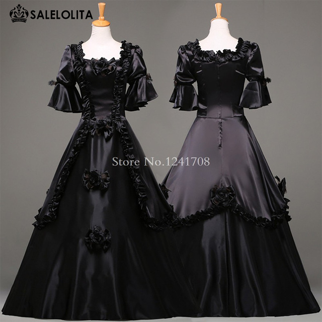 Black Vintage Gothic Rococo Ball Gown Adult Halloween Party Dresses Women Baroque Colonial Masquerade Victorian Dress