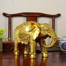 33cm Large Home Porch Lobby Efficacious Protection Mascot Thriving Business Copper Feng Shui Elephant