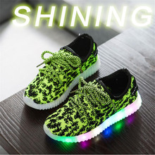 2017 New Kids LED Sneakers Design Breathable Children Sports shoes for Baby girls Boys luminous Shoes with light size 21~36