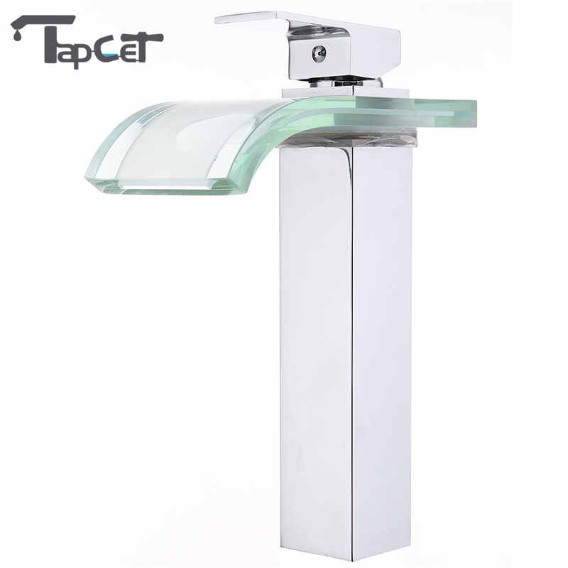 TAPCET LED Bathroom Basin Faucet Copper Waterfall Taps Water Power Basin Led Tap Mixer 3 colors LED Change Glass Hot/Cold waterTAPCET LED Bathroom Basin Faucet Copper Waterfall Taps Water Power Basin Led Tap Mixer 3 colors LED Change Glass Hot/Cold water