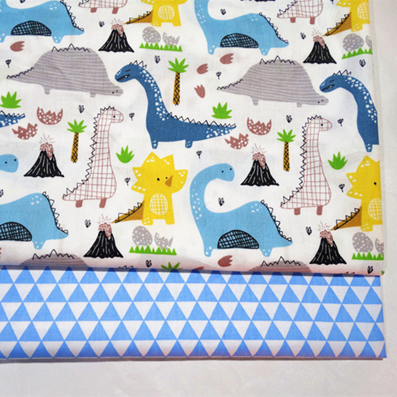 half meter dinosaur triangle print patchwork cotton fabric for Tissue Kids bedding home textile Sewing Tilda Doll A871