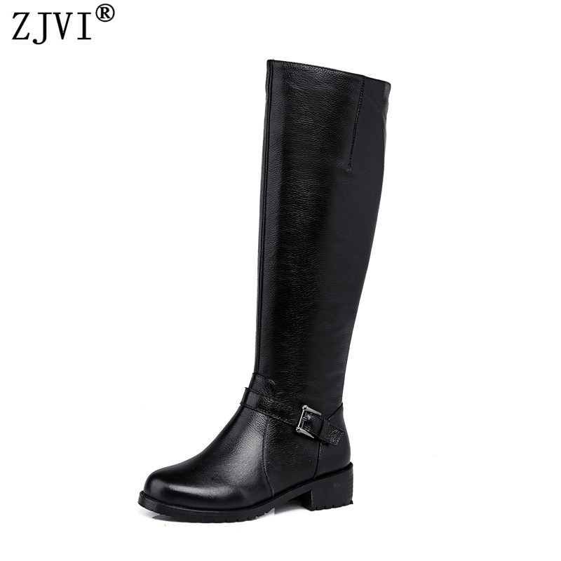 ZJVI women fashion knee high boots woman buckle winter thigh high boots 2018 womens genuine leather boots low heels heel shoes