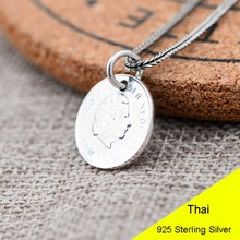 925 Sterling Silver Retro Money Coin Necklace Pendant Men & Women Pure Silver Fine Jewelry Gift CH021946(China)