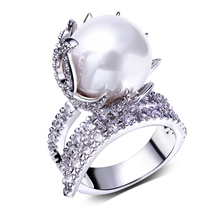 Cute Fine Jewelry Pearl Finger Rings High Quality Cubic Zircon Engagement Party Rings for Women Full