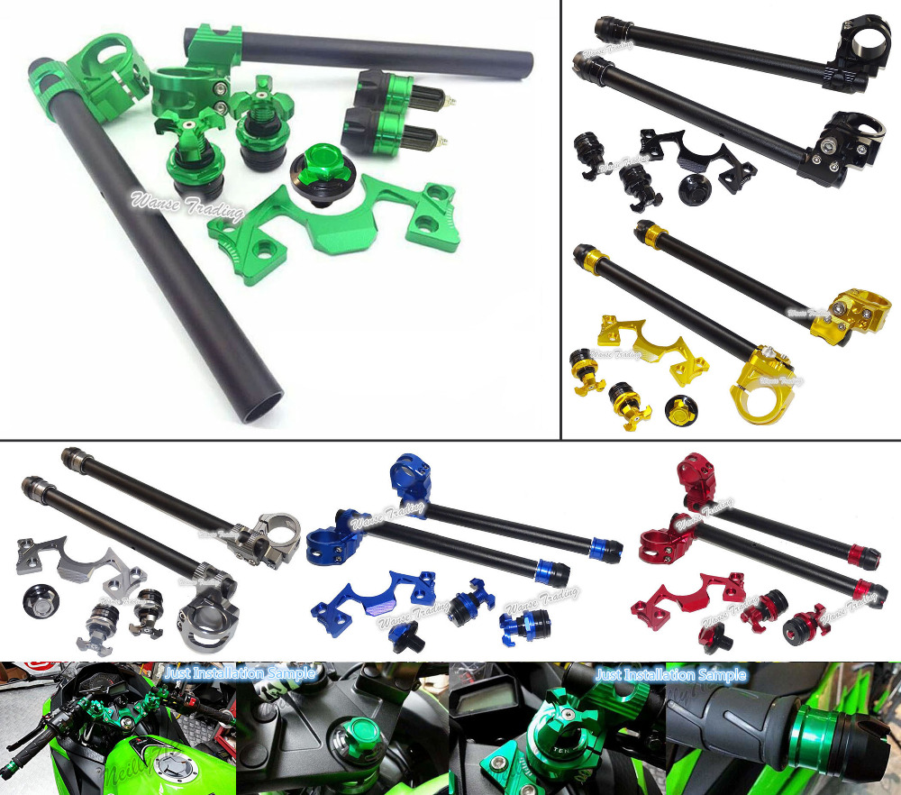 Adjustable Handlebars Clip On Bar Ends Fork Adjusters Yoke Nut Guard Pad Set For Kawasaki Ninja