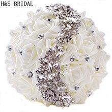 White Hand made Elegant Decorative Artificial Rhinestone Bride Bridesmaid With Crystal Wedding Bouquet Flower
