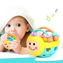 1 шт. мягкие резиновые Мультяшные пчелы ручной стук погремушка гантели детские Ранние развивающие игрушки для детей дошкольного возраста инструменты игры подарки