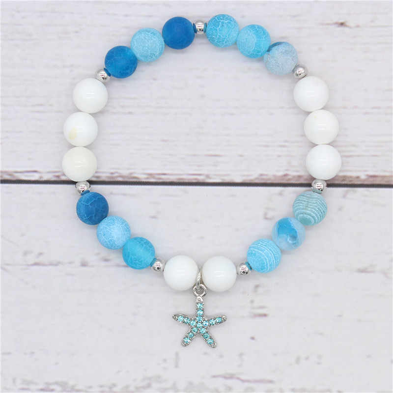 Poshfeel Ocean Style Crystal Starfish Bracelet for Women 8mm Blue and White Stone Beads Bracelets & Bangles Pulseira MBR180223